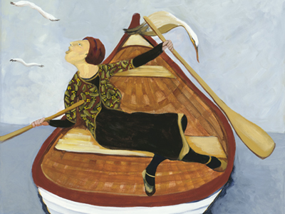 Molly Rows Her Pear Shaped Boat by Laurel hibbert